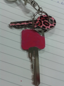 Paint a key pink key painting with nail varnish after
