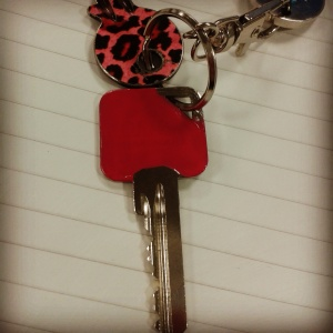 Paint a key pink key painting with nail varnish one coat
