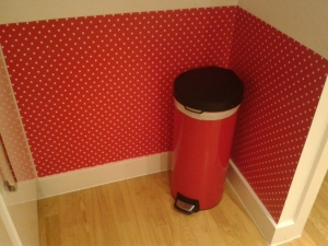After shot oil cloth behind bin wall upcycle home improvement make my home pretty b