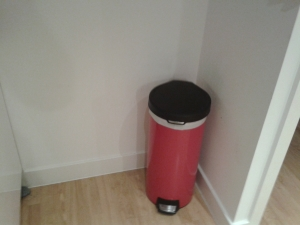 Before shot oil cloth behind bin wall upcycle home improvement make my home pretty a
