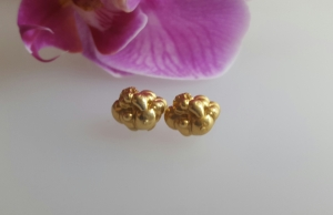 Gold Plated sterling silver cloud earrings chunky e